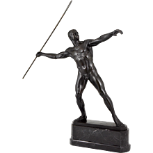 Art Deco bronze sculpture male nude by Möbius, Germany.