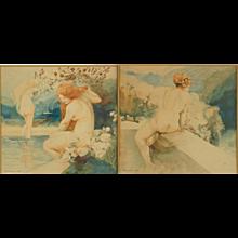 Crommen Art Nouveau watercolor paintings with nudes