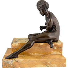 French Art deco bronze sculpture African nude with dice by Clarisse Levy Kinsboug