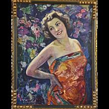 Hubert Glansdorff Art deco painting, Lady in the Garden, original frame 1920