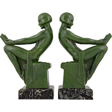 French Art Deco Bookends With Reading Nudes by Max Le Verrier