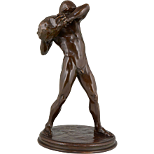 Antique Bronze Sculpture Male Nude Athlete by Paul Moye, 1923