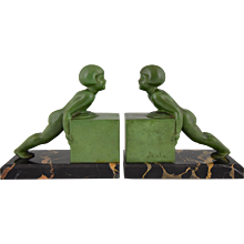 A Pair Of French Art Deco Child Bookends by Janle, 1930