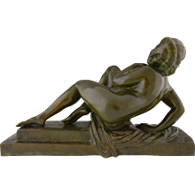 French Art Deco bronze sculpture of a nude with drape Marcel Bouraine, 1930