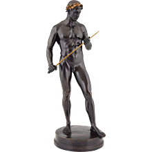 Antique bronze sculpture male nude with sword and laurel wreath Fritz Heinemann