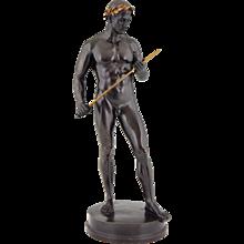 Antique bronze sculpture male nude with sword and laurel wreath Fritz Heinemann, 1890