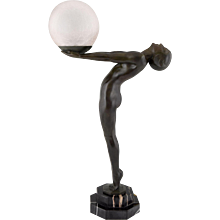 French Art Deco lamp nude with ball by Max Le Verrier, H 26 inch.  1930