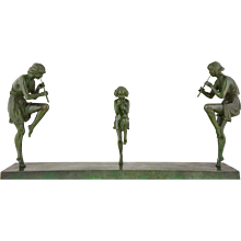 French Art Deco bronze sculpture of 3 female flute players by Marcel Bouraine, 1930