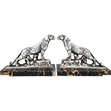 French Art Deco Panther Leopard Bookends by Frecourt, 1930
