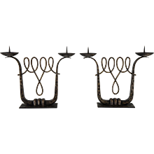 Pair Of French Art Deco Wrought Iron Candelabra by Michel Zadounaïsky, 1930