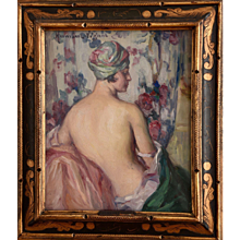 Art Deco painting, nude with turban. Léonie Humbert Vignot