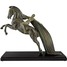 French Art Deco sculpture female nude on a rearing horse. C. Charles for Max Le Verrier 1930