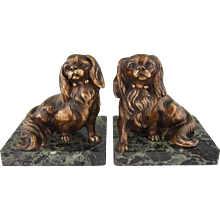 French Art Deco bronze King Charles spaniel dog bookends Louis Albert Carvin 1930