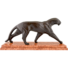 Art Deco bronze panther sculpture Michel Decoux 1930