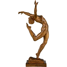 Art Deco Bronze Sculpture Of A Nude dancer by Emmanuel Andres Cavacos, 1920