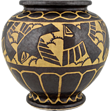 Art Deco Ceramic Vase With Birds by Charles Catteau for Keramis, 1925