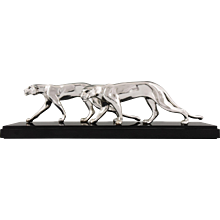 French Art Deco silvered sculpture of two panthers. M. Font 1930