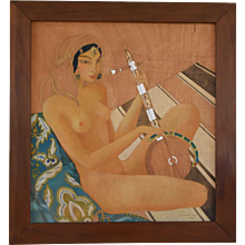 Art Deco orientalist painting of a nude with a gumbri, 1933 Gilbert F. Bons