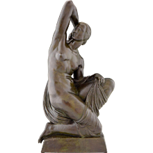 Art Deco bronze sculpture of a nude by Joe Descomps Cormier, 1925