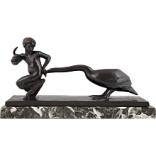 Art Deco Bronze Sculpture Young Satyr With Geese by Paul Silvestre, 1930