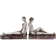 Art Deco bronze nude bookends by Scribe, 1930