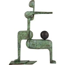 Modern Bronze Sculpture Figure With Ball by Stefan Vladov, 1970
