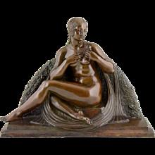 French Art deco bonze sculpture nude with rose Joe Descomps, Etling foundry, 1930