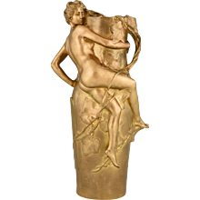 French Art Nouveau gilt bronze vase with nude and leaves Maurice Bouval, 1910
