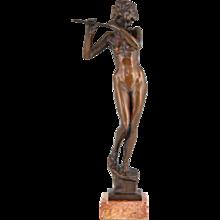 Art Deco Bronze Sculpture Of A Nude With Flute, 1941