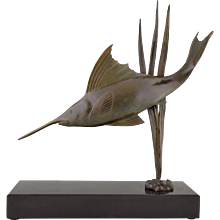 French Art deco bronze swordfish sculpture by I. Strateff, 1930