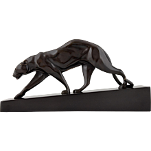 French Art Deco bronze panther sculpture by Maurice Prost, 1925