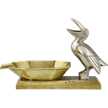 French Art Dco bronze ashtray with pelican by Marionnet, 1930