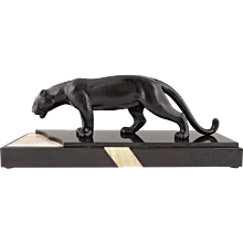 French Art Deco sculpture of a drinking panther by Luc, 1930