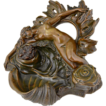French Art Nouveau bronze inkwell with nude, Venus, by Silaguy, 1900