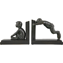 French Art Deco bronze bookends young satyrs boy and girl Paul Silvestre, 1930