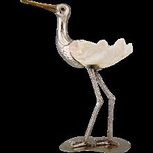Modern sculpture of a bird silvered metal and seashell by Gabriella Binazzi