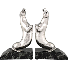 Art Deco silvered bookends by Carvin, 1930