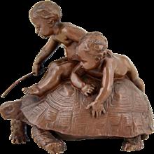 Antique bronze sculpture 2 boys on a tortoise by Louis Ernest Barrias, 1877