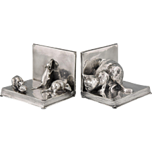 French Art Deco silvered bronze cat & mouse bookends by A. Duchene, 1920