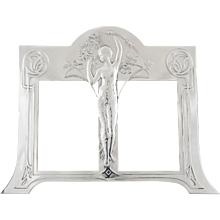 Art Nouveau silvered double photo frame with maiden by WMF, 1906