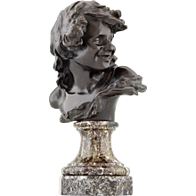 Antique bronze bust smiling child by jean Antoine Injalbert, 1900