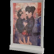 Pop Art, original double artwork in a standing plexiglass frame by Pol Mara, Belgium 1997