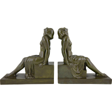 French Art Deco bronze bookends sitting nudes by Janle, 1930