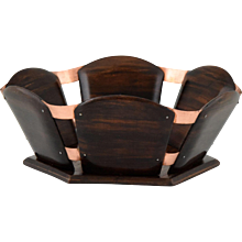 French Art Deco wood and copper paper basket for the desk by Emile Jacques Ruhlmann, 1930
