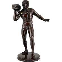 Antique sculpture of a male nude athlete by Georg Kemper, 1900