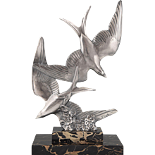 French Art Deco Sculpture Of Two Flying Birds by M. Font 1930