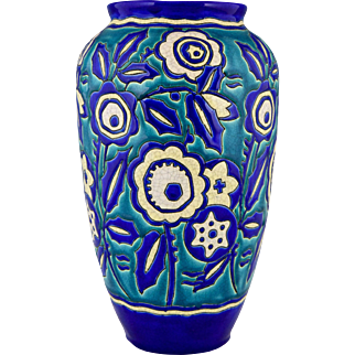 Art Deco Ceramic Vase With Flowers by Keramis, Belgium, 1929