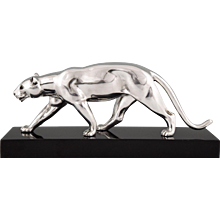 French Art Deco silvered bronze panther sculpture by Alexandre Ouline, 1930