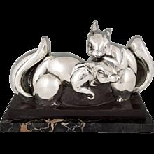 Art Deco silvered bronze squirrel sculpture Jean de la Fontinelle, France 1930