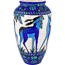 Art Deco ceramic vase with deer Charles Catteau for Boch Freres, 1924